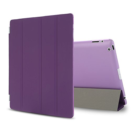 BESDATA Slim Lightweight Smart Stand Cover for Apple iPad 2/ iPad 3/ iPad 4 Bundle with Screen Protector and Cleaning Cloth and Stylus (Purple)
