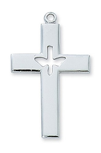 (Confirmation Sterling Silver Cross Cutout Holy Spirit 24