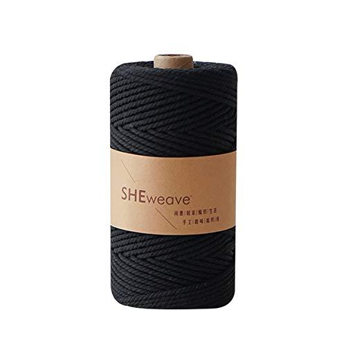 Macrame Cord Black,Natural Cotton Macrame Rope,3mm