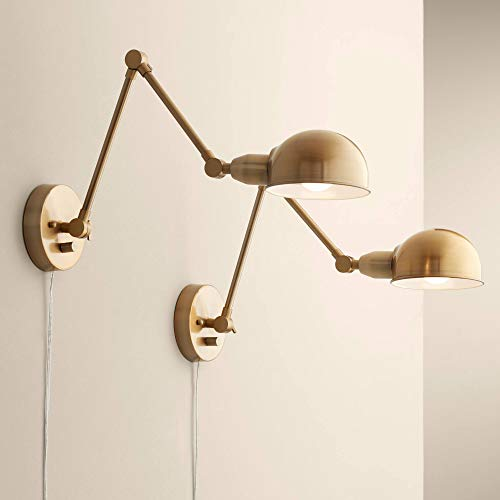 Lamps Plus Brass Sconce - Somers Antique Brass LED Wall Lamp Set of 2-360 Lighting