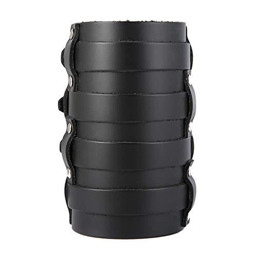 HZMAN Mens Leather Wide Triple Strap Cuff Wrap Gauntlet Wristband Buckle Fastening Arm Armor Cuff (Black - 4 Rows) Black Leather Cuff Wristband Bracelet