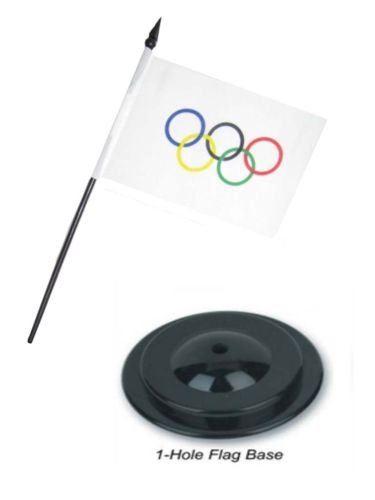 Moon Olympic Games Olympia 4''x6'' Flag Desk Set Table Stick