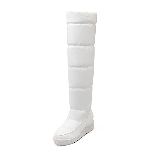 AllhqFashion Women's PU Blend Materials Kitten-Heels Boots with Wedge and Thread, White, 43