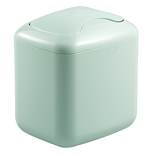 Baby Nursery Changing Table Wastebasket Trash Can with Swing Lid - 2.8-Quart, Mint
