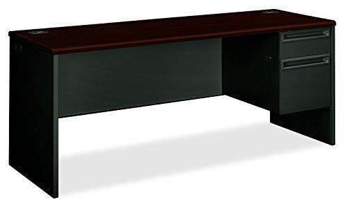 (HON 38856RNS 38000 Series Right Pedestal Credenza, 72w x 24d x 29-1/2h, Mahogany/Charcoal)