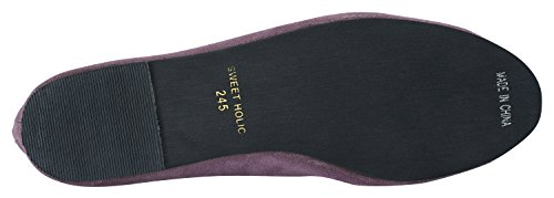 AnnaKastle Womens Vegan Suede Round Toe Ballet Flats With Bow Purple zMQ99