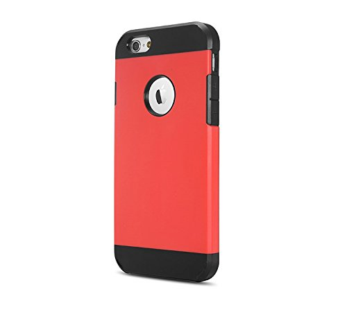 "iProtect iPhone 6 (4,7"") PC + TPU Housse Hybride protection dual Hard Case en noir rouge"