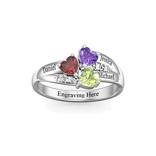 HooAMI Personalized Mother Rings with 3 Simulated Birthstones & Names Engraved Family Promise Gift for Mommy,Size 8