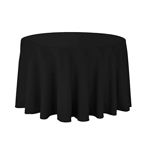 Black Elegance Tablecloth - LinenTablecloth 108-Inch Round Polyester Tablecloth Black