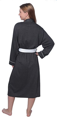 Women's Soft Jersey Knit Cotton Blend Wrap Robe Sleepwear with Piping Finish Y18_WJR01 Charcoal 3X by Beverly Rock (Image #2)