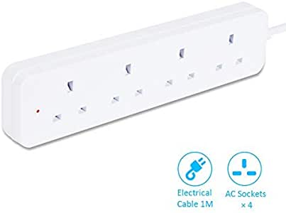 TISDLIP 1M Extension Socket 4 Way Electrical Cable Safely White