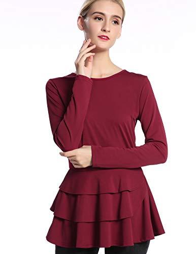 MAVIS LAVEN Women's Layered Ruffle Long Sleeve Round Neck Peplum Tops Shirt (Small, Wine Red)