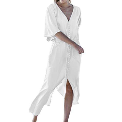 Lotus.Flower Women Casual Plus Size Tie Up V Neck Loose Fashion Button Daily Split Long Dress White