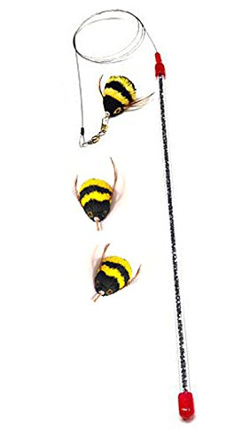 Go Cat Da Bee Teaser Wand And TWO Extra Bee Attachments From The Maker Of Da Bird and Cat Catcher - Value Pack by Go Cat