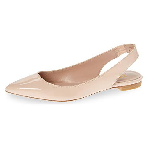 YDN Women Pointed Toe Slingback Ballet Flats Low Heel Slide Sandals Comfortable Slip On Dress Pumps Nude 9