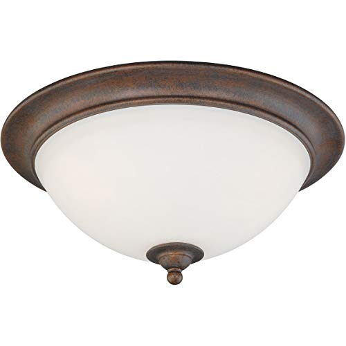 Flush Mounts 3 Light Fixtures with Weathered Patina Finish Glass Material Medium 16