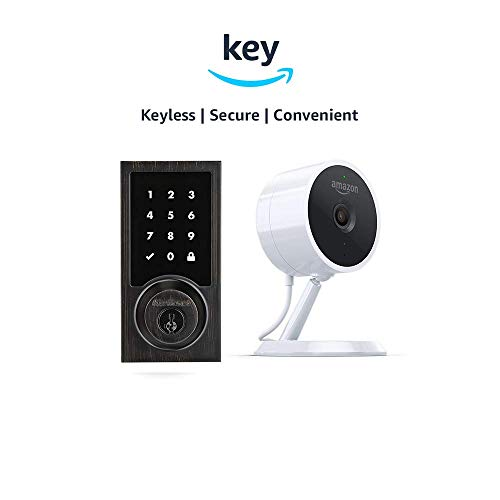 Kwikset 916 SmartCode ZigBee Touchscreen Smart Lock + Amazon Cloud Cam | Key Smart Lock Kit (Contemporary Style in Venetian Bronze)