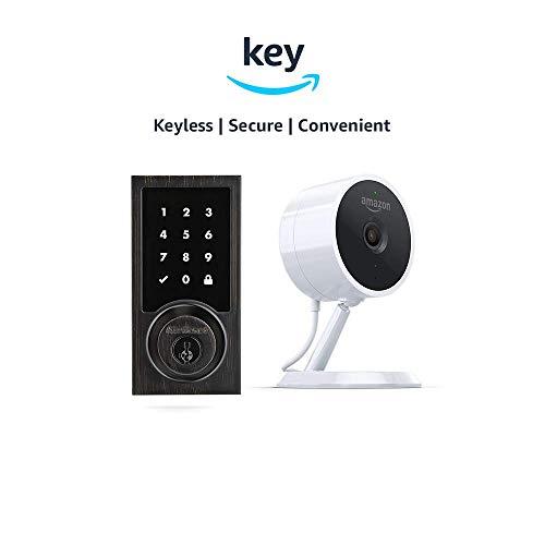 Kwikset 916 SmartCode ZigBee Touchscreen Smart Lock + Amazon Cloud Cam | Key Smart Lock Kit (Contemporary Style in Venetian Bronze) -