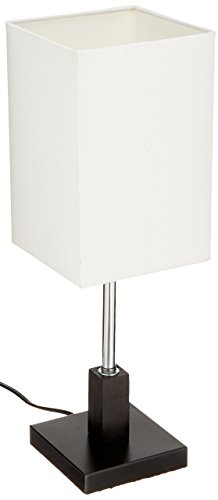 (Lite Source LS-22061 Table Lamp, Polished Steel and Dark Walnut Wood with Fabric Shade, 5.5