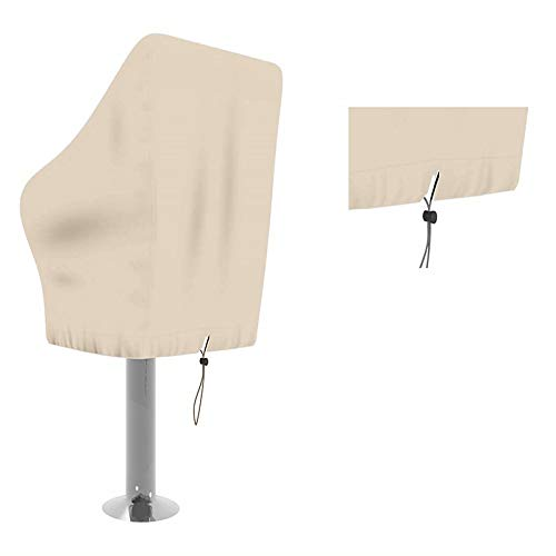 Boat Seat Cover,Heavy-Duty Waterproof Oxford Fabric Speedboat Seat Dust Cover,DustProof Weather Resistant Console Pedestal Seats Cover to Protect Captain's Chair from The ElementsCYFC68 (Khaki)