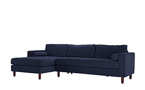 Divano Roma Furniture Mid-Century Modern Tufted Velvet Secti