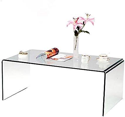 SMARTYK Mesa de café de Cristal Templado, Mesa de Centro ...