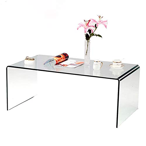 SMARTYK 1/2 Inch Thicken Tempered Glass Coffee Tables, Modern Decor Clear Coffee Table for Living Room, Easy to Clean and Safe Rounded Edges (Tables Coffee Glass Low)