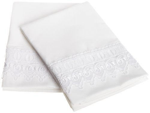 Cathay Home Venice Lace Standard Size Pillow Cases Constructed of Microfine Twill Weave in Highest Quality, White Color, Set of 2