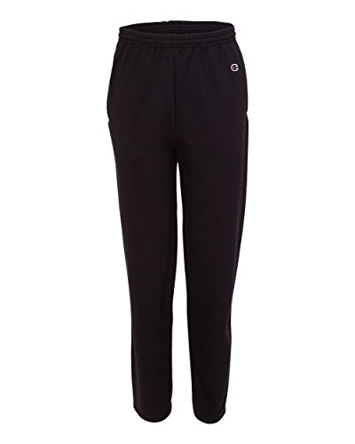 Champion P800 Adult Double Dry Eco Open-Bottom Fleece Pants with Pockets - Black44; Medium