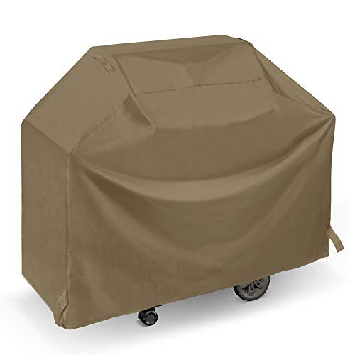 SunPatio Upgraded BBQ Grill Cover 50 Inch, Outdoor Barbecue Cover with Waterproof Sealed Seam, Fade Resistant, All Weather Protection for Weber Char-Broil Grills and More, Taupe (Patio Grill)