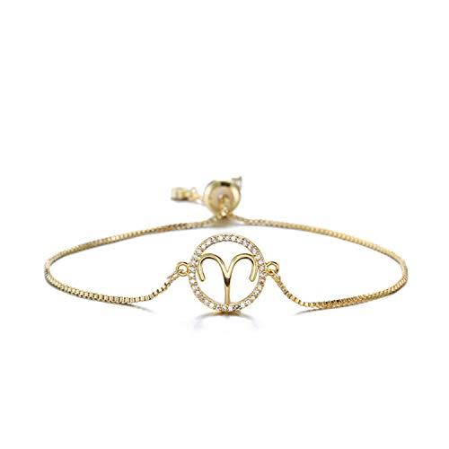 Trendy Women Girl Zodiac Sign Bracelet Gold Color 12 Constellations Charm Bracelets Adjustable Cz Jewelry Birthday Gift,Aries
