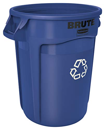 Rubbermaid Commercial Products FG263273BLUE BRUTE Heavy-Duty Round Recycling/Composting Bin, 32-Gallon, Blue Recycling