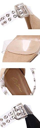 señora SHEO alto La sandalias con tacón Negro sandalias de remaches de tacón transparente con w6HwCT