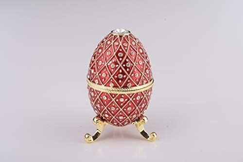 Red Easter Egg Horse Carousel Trinket Box by Keren Kopal music box w// crystal