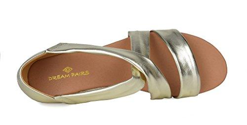Drøm Parene Kvinners Formosa_8 Lav Plattform Kiler Crossover Sandaler 8-gull