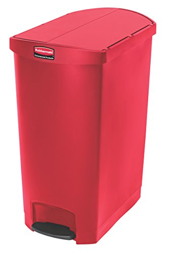 Rubbermaid Commercial Slim Jim End Step-On Trash Can, Plastic, 24 Gallon, Red