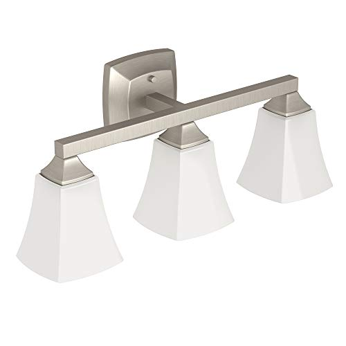 - Moen YB5163BN Voss Collection 3 Dual-Mount Bath Bathroom Vanity Light Fixture with Frosted Glass, 7.24 x 9.61 x 26.89 inches, Brushed Nickel