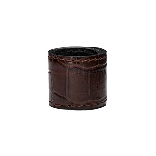 (Ponytail holder-(Brown Gator Texture) Cuff by DesignerTails | Women's Genuine Leather Ponytail Accessory | Patented Self Adjusting System Recoils to Fit Ponytail | Made USA, Gift Box, 10-yr.)