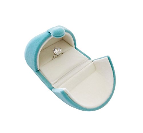 Svea Display Unique Aqua Color Velvet Jewelry Packaging Box Ring Jewelry Display Case Storage Engagement Wedding Gift Box Birthday Mother's Day Wedding Diamond Ring Showcase Packaging (Single Ring) ()