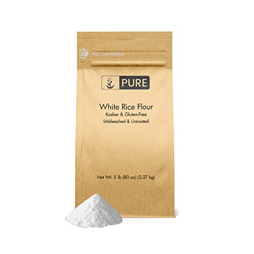 White Rice Flour (5 lb.) by Pure Organic Ingredients, Kosher, Gluten-Free, Fat-Free, Sodium-Free, Unbleached & Untreated, Vegan