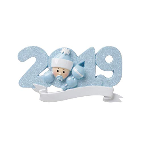 Personalized 2019 Baby Blue Christmas Tree Ornament - Cute Boy Glitter Letter Santa Hat Rattle Mitten Pacifier God New Mom Shower Holiday Grand-Son Tradition Nursery Arrived - Free Customization