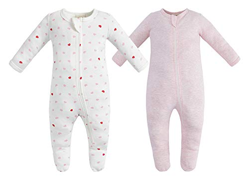 (Owlivia Organic Cotton Baby Boy Girl 2 Pack Zip Front Sleep 'N Play, Footed Sleeper, Long Sleeve (Size 0-18 Month)(6-12Months,Pink Melange+Pink Heart) )