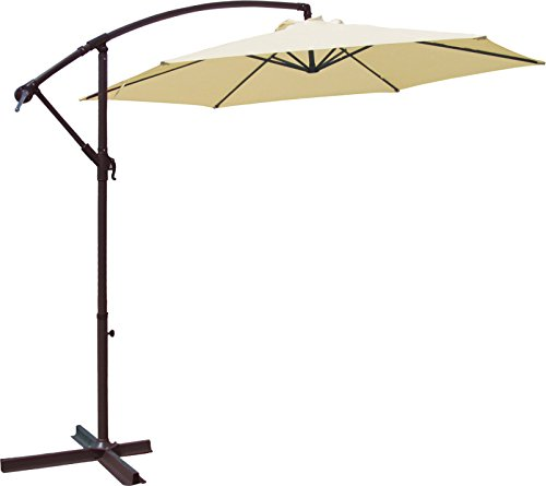 Goplus 10'garden Patio Large Cantilever Umbrella Yard Sunshade Umbrella Stands Beach by Goplus