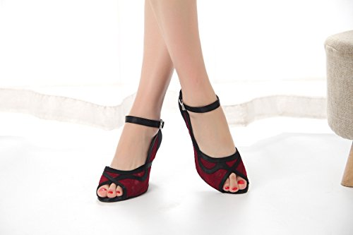 Dance Women's Red Heel Miyoopark Sandals 5cm Flared Latin Girls 7 Satin Heel Lace 5F00wqnaUz