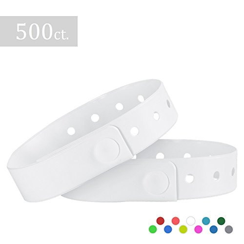Ouchan Plastic Wristbands White- 500 Pack Wristbands for Events Club Music Meeting Party]()