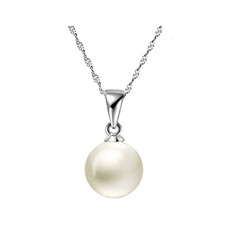 Jade Angel Sterling Silver Wave Chain with 14mm Round White Shell Pearl Pendant Necklace ()
