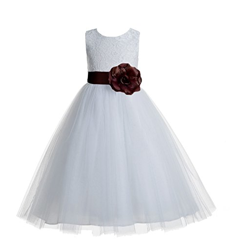 ekidsbridal Floral Lace Heart Cutout White Flower Girl