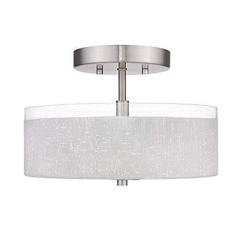 Jazava 2-Light Semi-Flush Mount Ceiling Light, Modern 12 inches Close to Ceiling Light, White Linen Frosted Glass Drum Shade, Brushed Nickel Finish