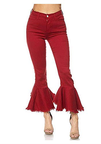 Women's Fashion Bell Bottom Pants High Waist Tassel Stretch Curvy Fit Jeans Red