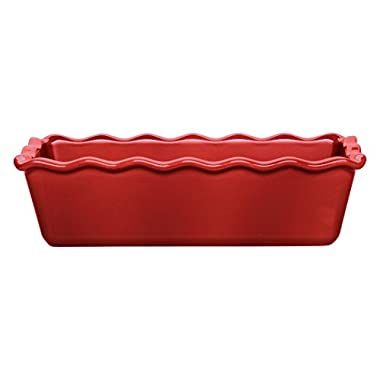 Emile Henry Made In France Ruffled Loaf Pan, 9  by 5  by 3 , Burgundy Red